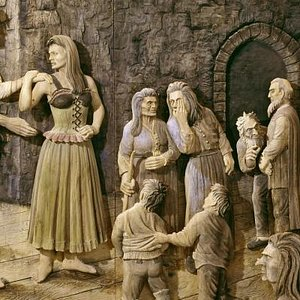 """Wood carving of """"Dovregubben's Hall"""" from Peer Gynt"""