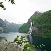 View of the Geiranger fjord from Skagefla Farm