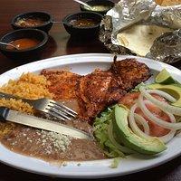 Pollo Adobado. Notice the fresh tortillas.