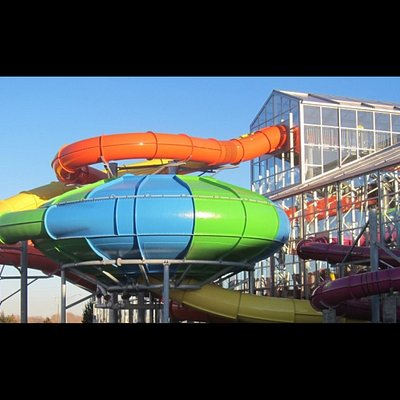Slide inside a twisting turning storm full of surprises.  The 2 four story water slides plus a b
