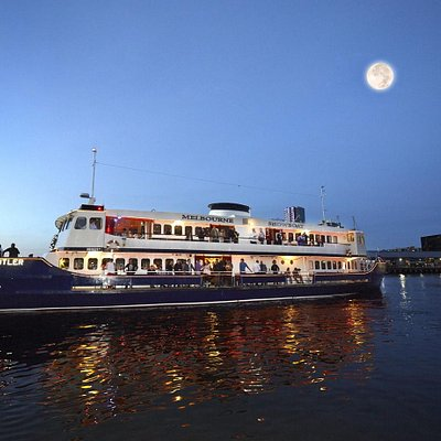 The beautiful boat and moon