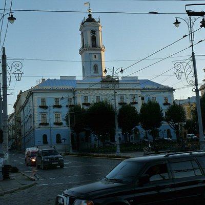 city Hall at dusk.
