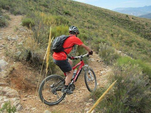 Descending the 46 switchbacks on the Sierra Lujar