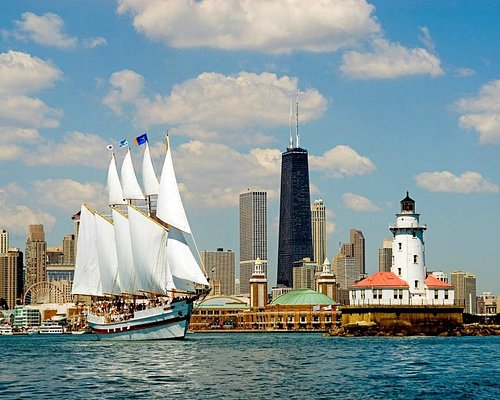 A great picture of Tall Ship Windy sailing out of Chicago's harbor.