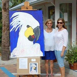 Pam and Jan, Anna Maria Historic Green Village at Bob Brown Art w/Hector!