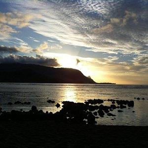 Pu'u Poa Beach, March sunset