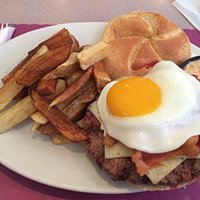 South of the border burger with an egg on top