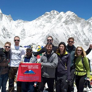 Rejoiced their moment at being at everest base camp