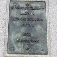The simple inscription on Cervantes' statue