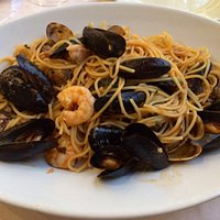 Spaghetti with mixed sea fishes