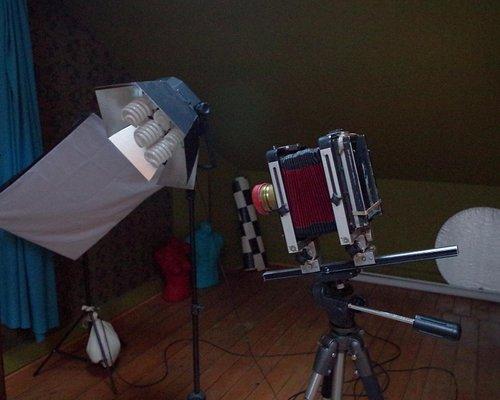old style camera, modern light equipments