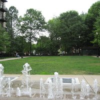 Fountains and grassy area