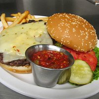 """FIRE HOUSE BURGER. TRY TIMS HOME MADE """"HOT"""" RELISH"""