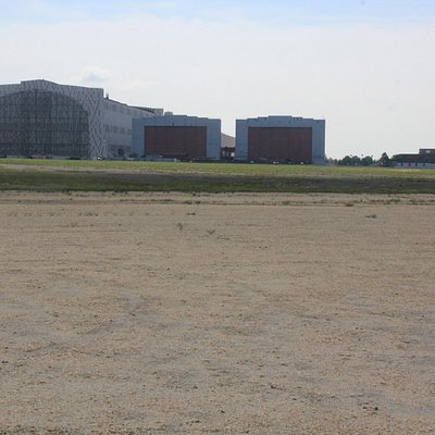 Hangar 1 from the crash site.