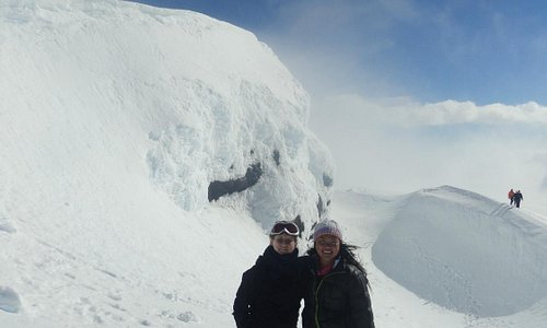 My friend Anne and I at the top of Eyjafjallajökull!