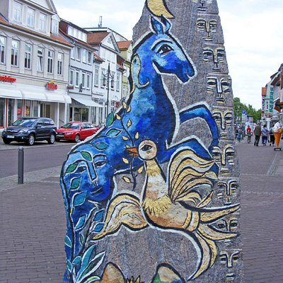 Weg der Steine - Der Stein des kosmischen Pferdes, Veerßer Straße, Uelzen, Lower Saxony, Germany