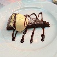 Chocolate cake and ice cream