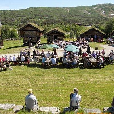 Geilo musikklag og Ål korps spiller ved åpningen av Geilojordet