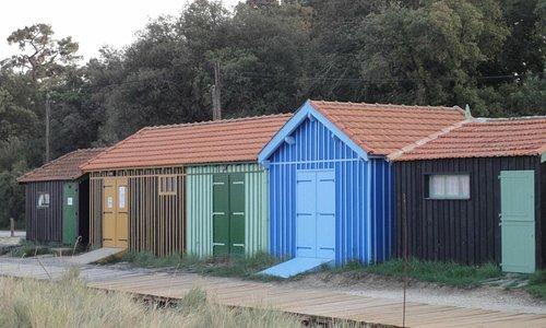 les cabannes restaurées à l'accueil du site