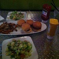 Ceasar Salad, Sliders, Parm garlic fries