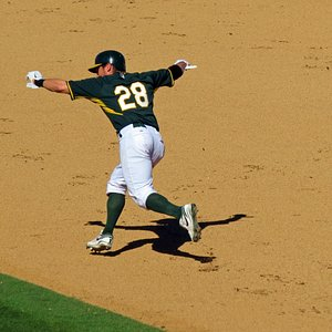 Even the players have fun Eric Sogard flies like an eagle too second base.