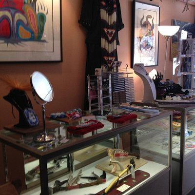 Prints, amazing beadwork, jewelry, purses, footwear are all handmade by First Nations artists.