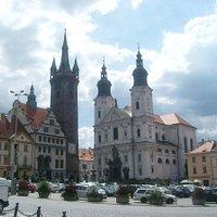 namesti Miru with Black Tower &  baroque church