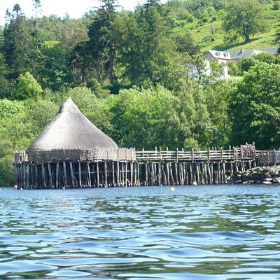 The Crannog from the motorboat on Loch Tay