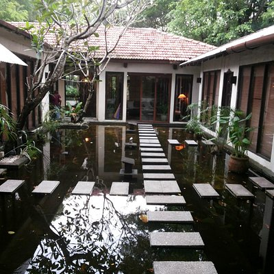 The personal spa rooms spread over a large koi pond