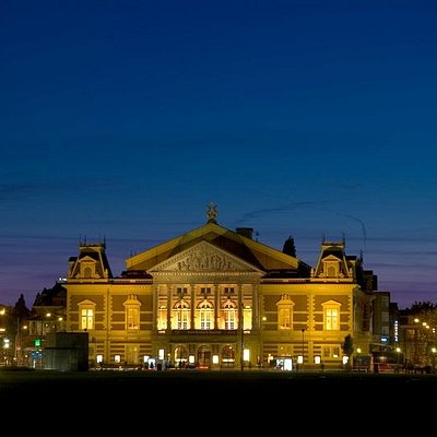 The Concertgebouw on a summer evening in Amsterdam.