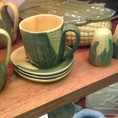 A collection of corncob pottery at the Baker Family Museum.