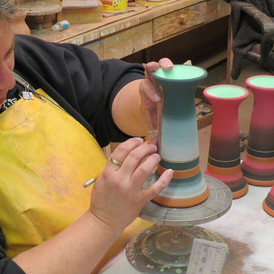 Jeanne High Elk creating a piece of Sioux Pottery