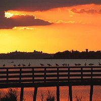 Our jetty on Trasimeno lake by the sunset