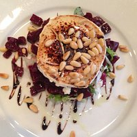 Goat's cheese, beetroot and pine nut salad