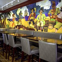 The famous mural in the newly renovated bar