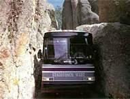 Mount Rushmore Tour Bus at Needles Eye Tunnel