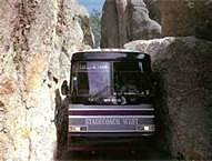 Mount Rushmore Tour Bus at Needles Eye Tunnel