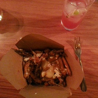 Poutine. Strips of beef heart. To die for.