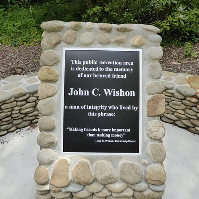"""The placard explaining why this is """"Wishon's Fishing Hole"""""""