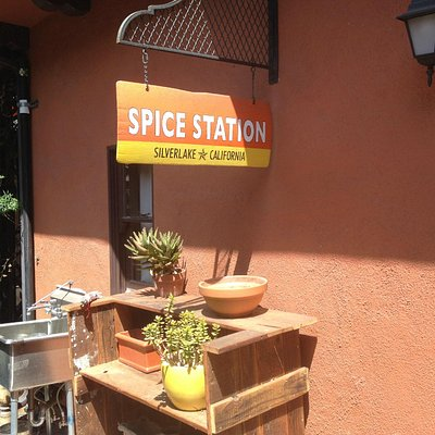 Charming garden entry alcove at Spice Station