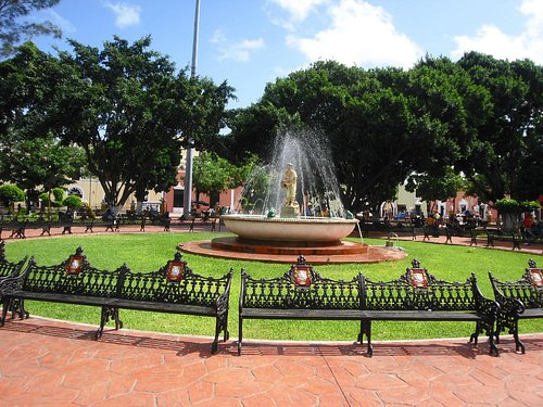 The fountain in the centre of the park