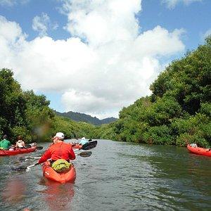 Group Kayaking upriver to Kipo Ranch