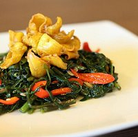 Cumi Cah Kangkung (Water Spinach with Deep Fried Cuttlefish