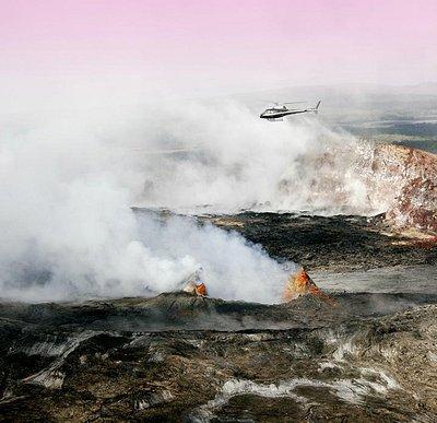 Flying over active volcano