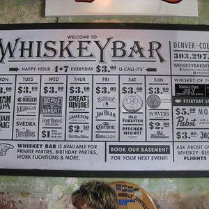Promotional Calendar at Denver's Whiskey Bar