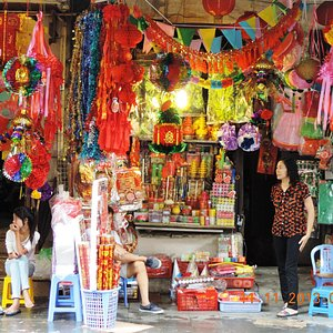 Hang Quat- A shop selling festival flags and religious objects and clothing