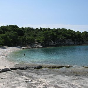 View of the pebbled beach