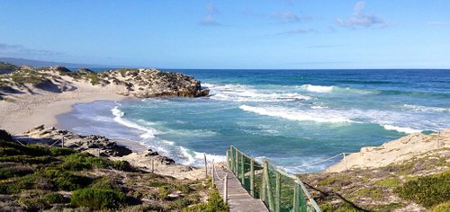 Beautiful beach, whales are breaching everywhere in front! Must go there, walk the dunes and enj