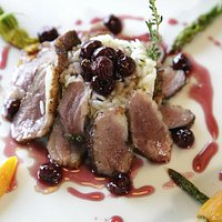 Duck Mgret with cherry confy
