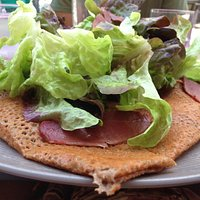 Galette with salad on top